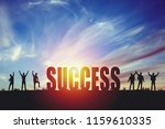 silhouette of happy business...   Shutterstock . vector #1159610335