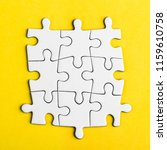 connected blank puzzle pieces...   Shutterstock . vector #1159610758