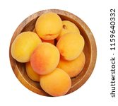 fresh ripe apricot in wood bowl ... | Shutterstock . vector #1159640332