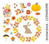 set of cute hand drawn autumn... | Shutterstock .eps vector #1159640398