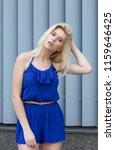 adorable blonde model in... | Shutterstock . vector #1159646425