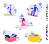 vector people enjoying winter... | Shutterstock .eps vector #1159669228