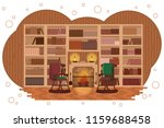 cozy library. home cabinet with ... | Shutterstock .eps vector #1159688458