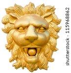 Statue Of Golden Lion Head...