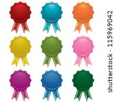 blank emblems with ribbons... | Shutterstock .eps vector #115969042