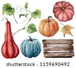 Watercolor Set With Pumpkins ...
