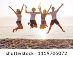 group of friends together on... | Shutterstock . vector #1159705072