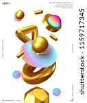 3d shape vector minimal poster. ... | Shutterstock .eps vector #1159717345