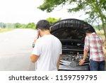 friends fixing car broken down... | Shutterstock . vector #1159759795