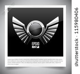 Metal Shield Emblem With Wings...