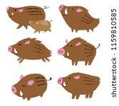 cute wild pigs  wild boars ...   Shutterstock .eps vector #1159810585