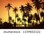 sunset on tropical beach and... | Shutterstock . vector #1159832122