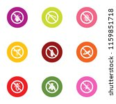 poison beetle icons set. flat... | Shutterstock .eps vector #1159851718