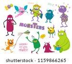 cute monsters set. vector... | Shutterstock .eps vector #1159866265