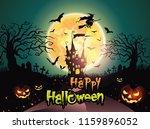 happy halloween background with ... | Shutterstock .eps vector #1159896052