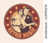 "emblem ""retro music"" with man... | Shutterstock .eps vector #115990276"