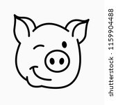 Pig Smiley Face Icon. Pig...