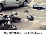 black helmet and motorcycle on... | Shutterstock . vector #1159915228