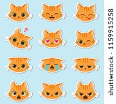 set of cute cartoon ginger cat... | Shutterstock .eps vector #1159915258