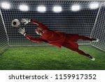 soccer goalkeeper catches the...   Shutterstock . vector #1159917352