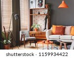 grey armchair next to lamp in... | Shutterstock . vector #1159934422
