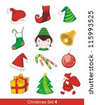 colorful christmas set with... | Shutterstock . vector #115993525