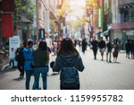 young asian woman traveler... | Shutterstock . vector #1159955782