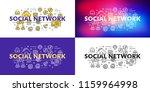 social network. flat line... | Shutterstock .eps vector #1159964998