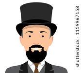 Vintage gentleman portrait. Design flat avatar for social media. Vector illustration.