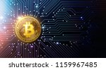 golden bitcoin on circuit board ... | Shutterstock . vector #1159967485