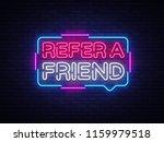 refer a friend neon text vector.... | Shutterstock .eps vector #1159979518