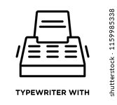 typewriter with paper icon... | Shutterstock .eps vector #1159985338