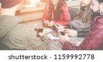 happy millennials friends using ... | Shutterstock . vector #1159992778