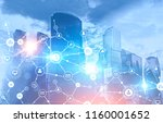 business network icons glowing... | Shutterstock . vector #1160001652