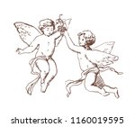 pair of flying cupids or angels ... | Shutterstock .eps vector #1160019595