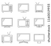 tv icons set. linear vector... | Shutterstock .eps vector #1160019955