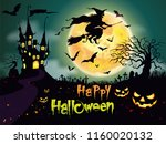 happy halloween pumpkins and... | Shutterstock .eps vector #1160020132
