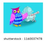 card for kids  owl and book ... | Shutterstock . vector #1160037478