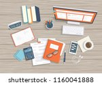 desktop with monitor  keyboard  ... | Shutterstock .eps vector #1160041888