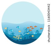 the bottom of the ocean with... | Shutterstock .eps vector #1160043442