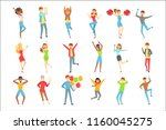 people having fun at the party...   Shutterstock .eps vector #1160045275