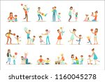 loving fathers playing and... | Shutterstock .eps vector #1160045278