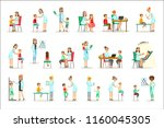 kids on medical check up with... | Shutterstock .eps vector #1160045305