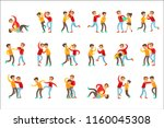 Stock vector two boys fist fight positions aggressive bully in long sleeve red top fighting another kid who is 1160045308