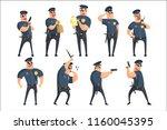 american policeman funny... | Shutterstock .eps vector #1160045395