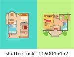 house floor interior design... | Shutterstock .eps vector #1160045452