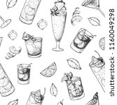 cocktails hand drawn seamless... | Shutterstock .eps vector #1160049298