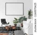 bohemian interior with frame... | Shutterstock . vector #1160070625
