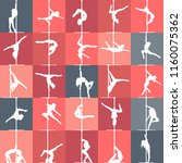 flat style pole dance and pole... | Shutterstock .eps vector #1160075362