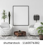mock up poster frame in living... | Shutterstock . vector #1160076382